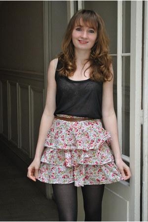 bubble gum Topshop dress - black H&M top - light brown Zara sandals