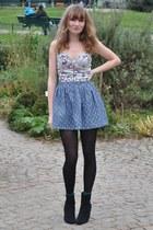 H&M boots - Pull & Bear skirt - asos bodysuit