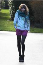 sky blue jennyfer sweater - pink etam shorts - light brown Zara sandals
