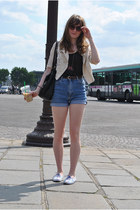 cream H&M blazer - black Mango bag - sky blue Levis shorts - violet H&M sneakers