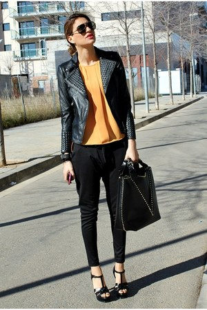black Zara jacket - orange Zara shirt - black Zara bag - black Mango sunglasses