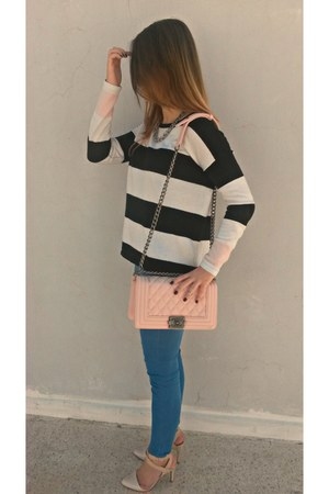 blue Topshop jeans - stripes H&M top - light pink Stradivarius heels
