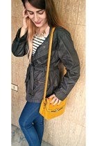 olive green units jacket - blue GINA TRICOT jeans - white stripes H&M top
