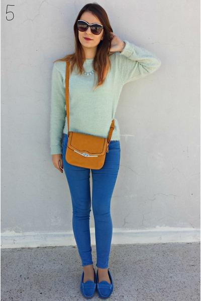 light blue fluffy Bik Bok top - turquoise blue Topshop jeans