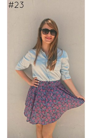 sky blue chambray H&M shirt - hot pink floral H&M skirt