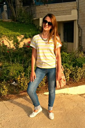 white H&M sneakers - teal H&M jeans - light yellow stripes Macys t-shirt