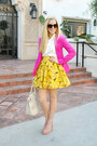 Parker-blazer-light-yellow-alice-and-olivia-skirt