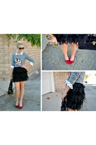 feathers lace DKNY skirt - owl sweater J Crew sweater