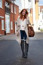 Beige-newlook-cardigan-beige-h-m-shirt-blue-h-m-jeans-gray-vividress-boots
