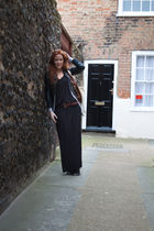 black H&M dress - silver Zara cardigan - black Zara jacket - gray new look boots