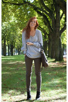 gray H&M jumper - black Zara boots - green River Island jeans