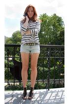 white H&M shirt - blue Topshop shorts - black etam shoes - black Ydeltuyt sungla