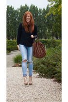blue H&M Trend jeans - blue COS jumper - beige Aldo shoes