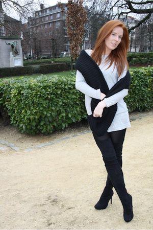 black H&M scarf - black Miss Selfridge boots - gray H&M dress