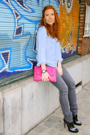 blue Zara blouse - pink Antonio Scepi accessories - gray H&M jeans - black asos