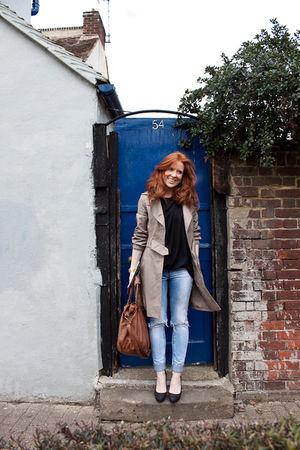beige H&M coat - black Kage t-shirt - blue H&M Trend jeans - black Zara platform