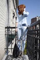 blue Zara shirt - gray asos boots - blue H&M Trend jeans