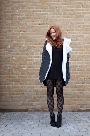gray Yesstyle jacket - black H&M dress - black H&M tights - black Zara shoes