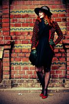 black Eric Javis hat - Moda International dress - red Zara shoes - red vintage j