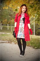 red Lacoste coat - beige Lana dress - black vintage vest - black Alexandre de Pa