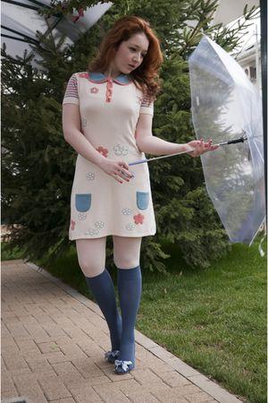 white Kinga Varga dress - white falke tights - blue falke tights - blue no name