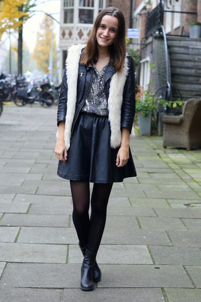 leather Zara jacket - - vintage boots - faux fur H&M vest - leather H&M skirt