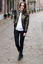 metallic Primark jacket - worker boots River Island boots - black Primark jeans