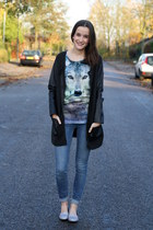 glitter Primark loafers - jeans Zara jeans - animal c&a top
