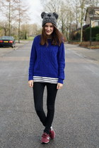 blue H&M sweater - beanie c&a hat - stripes H&M shirt