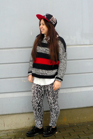 Croop DIY hat - new look sweater - vintage shirt - Cubus pants