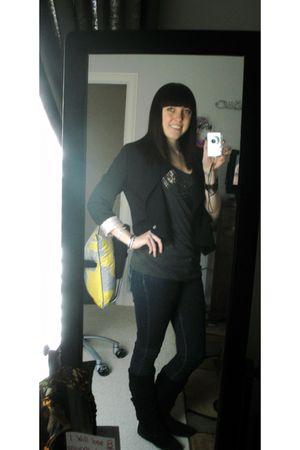 black H&M blazer - blue Forever 21 jeans - black Steve Madden boots - gray Forev