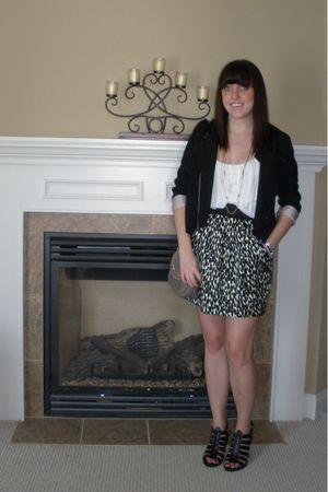 black H&M blazer - white Charlotte Russe top - yellow Forever 21 skirt - black T