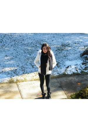 black leggings - calvin klein jacket - brown scarf - black wedge asos sneakers