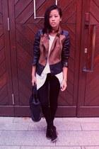 black Stradivarius jacket - black Zara leggings - black Alexander Wang bag
