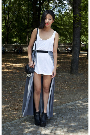 black Modekungen shoes - ivory Monki dress - black DIY bag - silver Nam Nguyen s