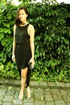 black t by alexander wang dress - black DIY bag - silver Nelly accessories