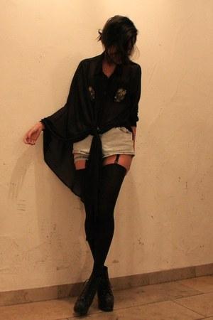 black House of Holland tights - black Jeffrey Campbell heels - black weekday blo