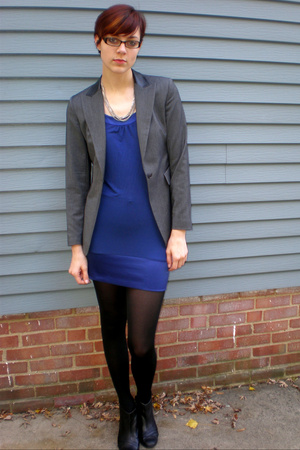 Express dress - Express blazer - HUE tights - shoes - necklace
