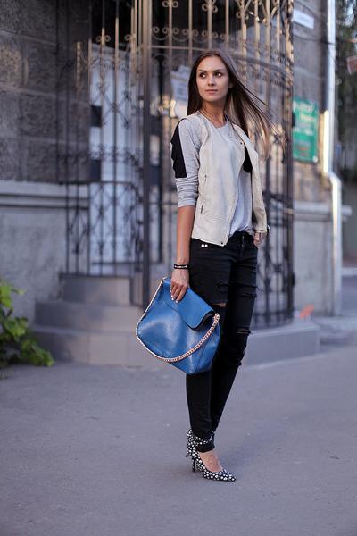 blue vjstyle bag - black DIY jeans - black asos heels