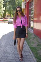 black Vila dress - hot pink vintage shirt - black asos bag