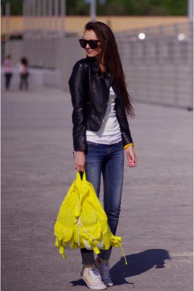 yellow asos bag - black Sheinside jacket