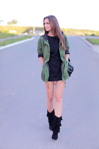 black unknown boots - black Mango dress - olive green Sheinside jacket