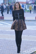 brown Zara skirt - black Newlook boots - black DIY top