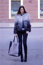heather gray H&M jacket - black asos boots - black Levis jeans