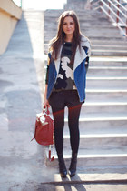 black Aldo boots - army green Sheinside sweater - brick red vjstyle bag