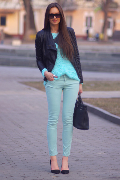 black Zara jacket - light blue Stradivarius jeans - aquamarine DIY sweater