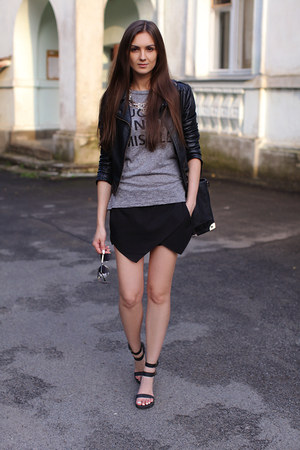 black Sheinside jacket - black vjstyle bag - black Zara shorts