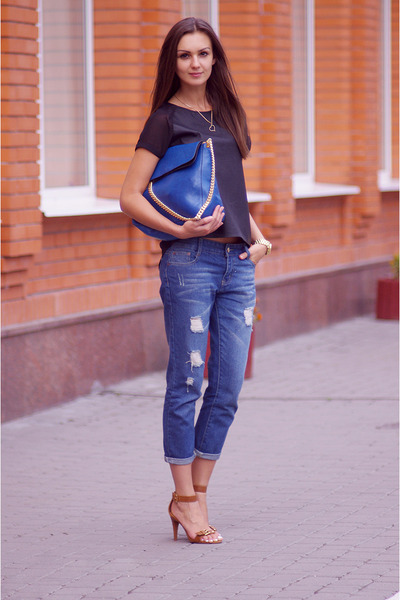 blue VJ-style bag - blue chicnova jeans - black H&M top