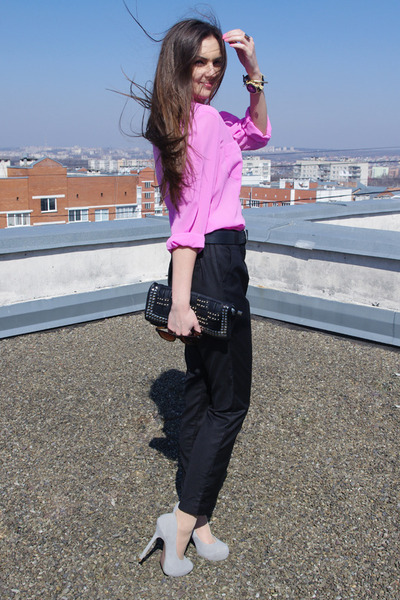 bubble gum thrifted shirt - black unknown brand bag - black asos pants - silver