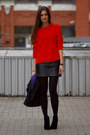 Black-newlook-boots-red-zara-sweater-black-diy-skirt